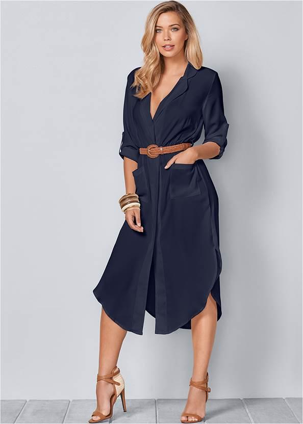 Belted Midi Shirt Dress,Cupid U Plunge Bra,Western Buckle Wrap Boots,Embellished Fringe Earrings,Studded Round Crossbody