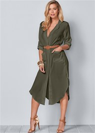 Front View Belted Midi Shirt Dress