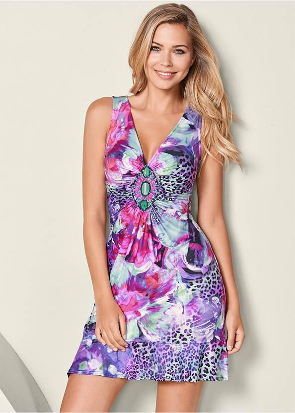 Embellished Print Dress,Cupid U Plunge Bra,Embellished Wedges