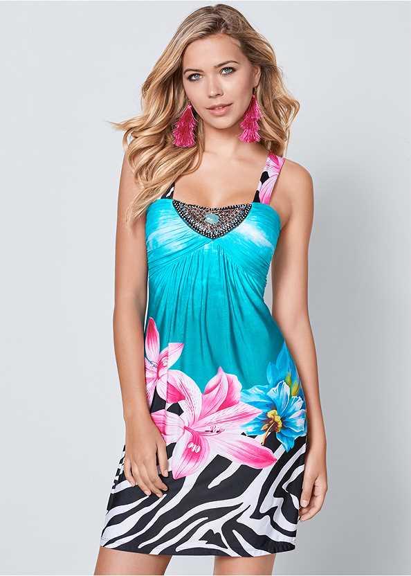 Mixed Print Mini Dress,Cupid U Plunge Bra