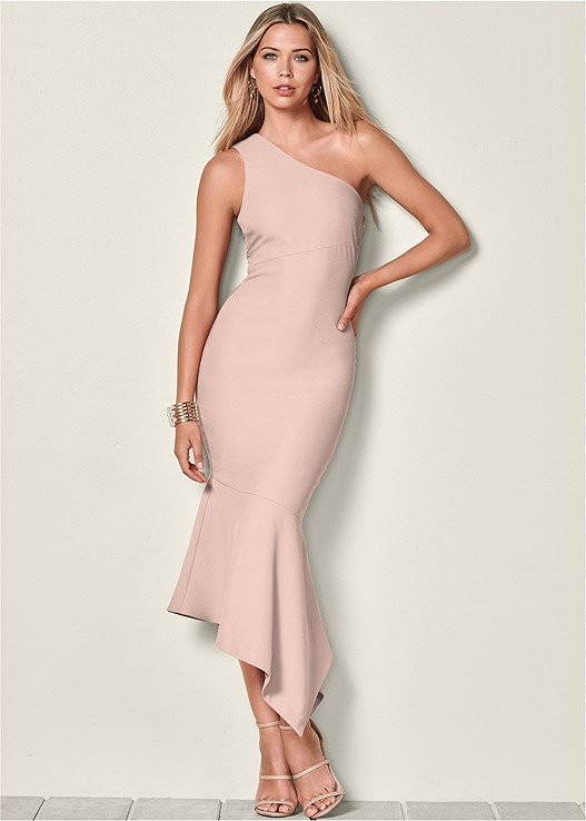 c72b5a288c5 ONE SHOULDER TULIP DRESS in Light Pink