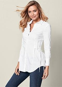 corset waist button up top