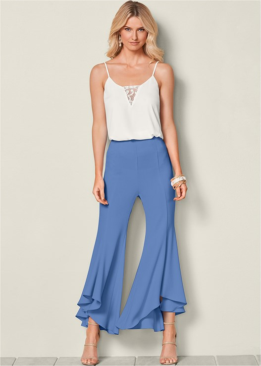 RUFFLE HEM PANTS,HIGH HEEL STRAPPY SANDALS