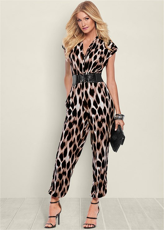 BELTED PRINT JUMPSUIT