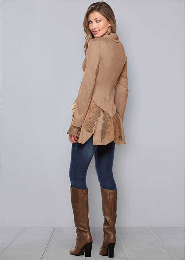 Back view Faux Suede And Lace Jacket