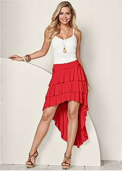 ruffle high low skirt