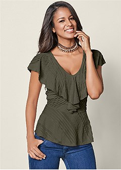 pleated v-neck ruffle top