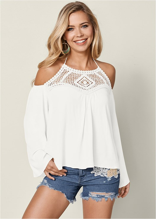 LACE DETAIL BELL SLEEVE TOP,CROCHET JEAN SHORTS,EVERYDAY YOU STRAPLESS BRA,LACE UP GLADIATOR SANDALS,EMBELLISHED GLADIATORS,CUT OFF JEAN SHORTS,BEADED HOOP EARRINGS
