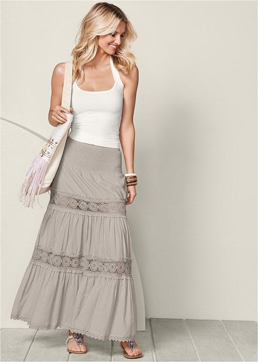 Light Pink Lace Detail Maxi Skirt Venus
