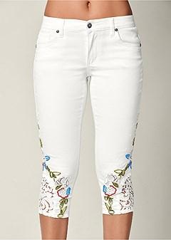embroidery lace capri jeans