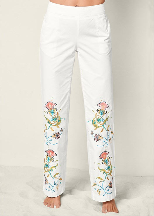 EMBROIDERED WIDE LEG PANTS