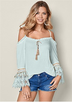 lace detail drawstring top