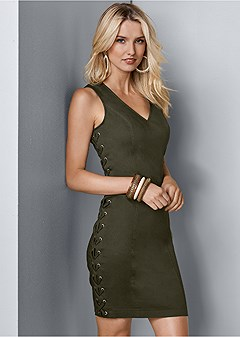 lace up side mini dress