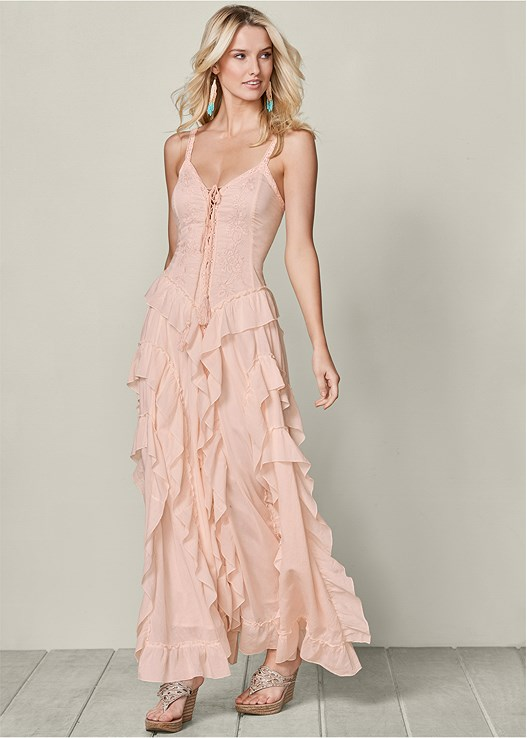 LACE UP RUFFLE MAXI DRESS,EMBELLISHED WEDGE,CUPID U PLUNGE BRA