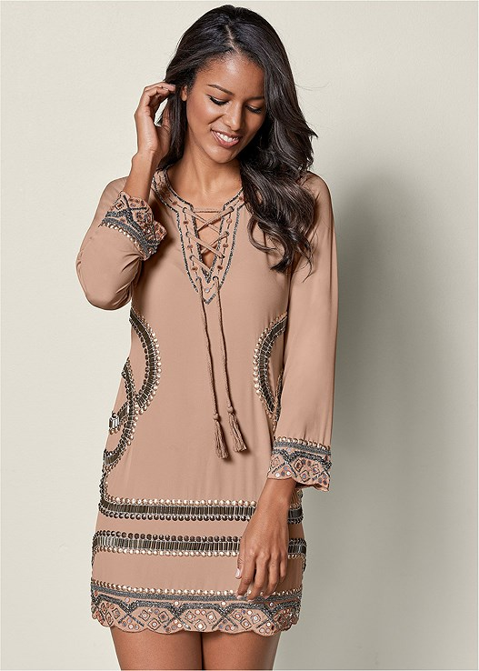 LACE UP BEADED MINI DRESS,ESPADRILLE PLATFORM WEDGES