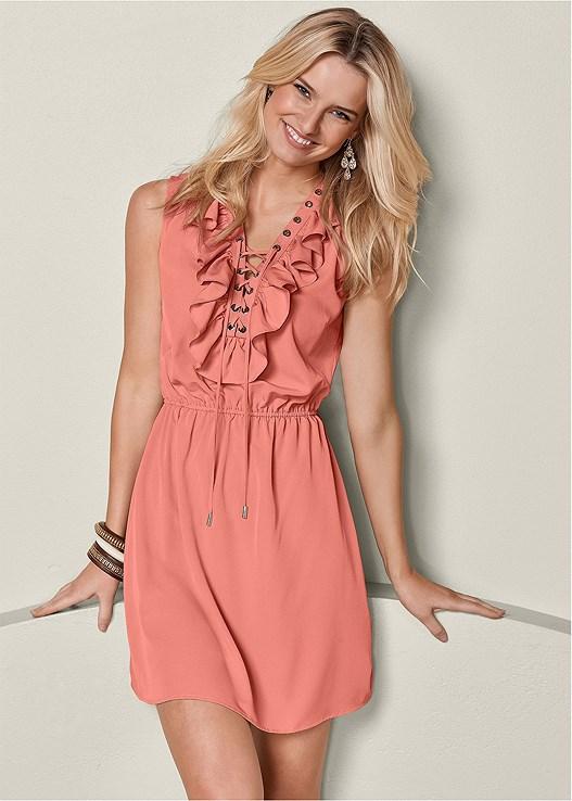RUFFLE LACE UP MINI DRESS,EMBELLISHED STRAPPY SANDALS,CUPID U PLUNGE BRA