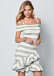 Front view Striped Ruffle Mini Dress