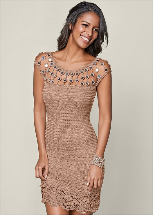 MIRROR DETAIL SWEATER DRESS,EMBELLISHED WEDGE,CUPID BACKLESS LACE UP BRA