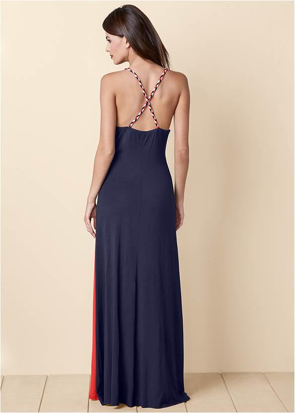 Back view Color Block Maxi Dress