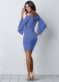 Back View Cold Shoulder Bodycon Dress