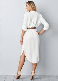 Back view Belted Midi Shirt Dress