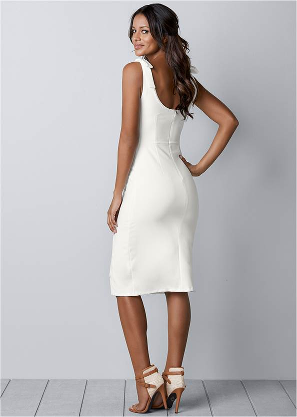 Back View Lace Up Detail Sleeveless Dress