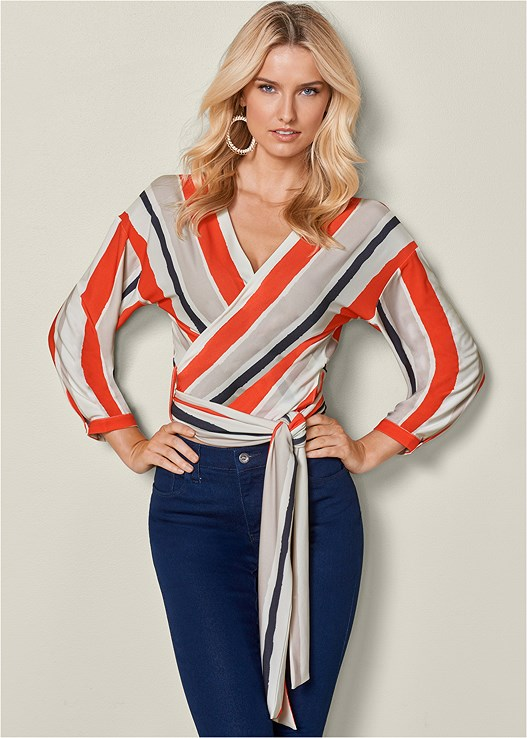 STRIPE WRAP TOP,BUM LIFTER JEANS,RAFFIA DETAIL HEEL