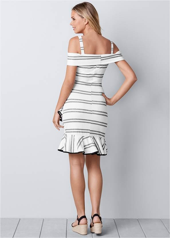 Back view Striped Ruffle Mini Dress