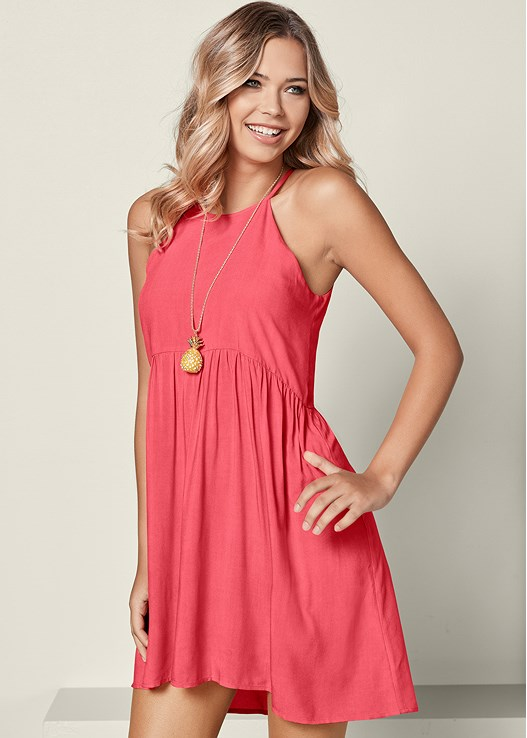 adb6e5c3e HIGH LOW CASUAL MINI DRESS in Coral | VENUS
