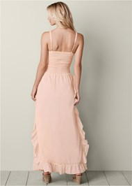 Back view Lace Up Ruffle Maxi Dress