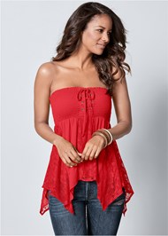 Front View Lace Inset Smocked Top