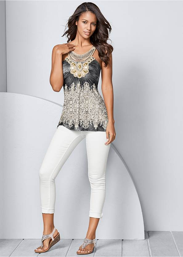 Front view Embellished Print Top