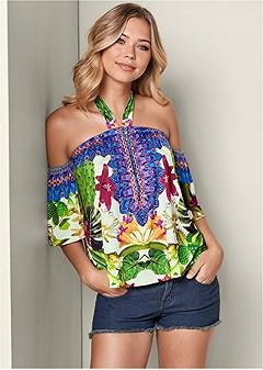 tropical print halter top
