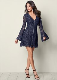 Front View Bell Sleeve Lace Dress