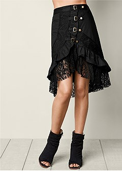 ruffle lace buckle skirt