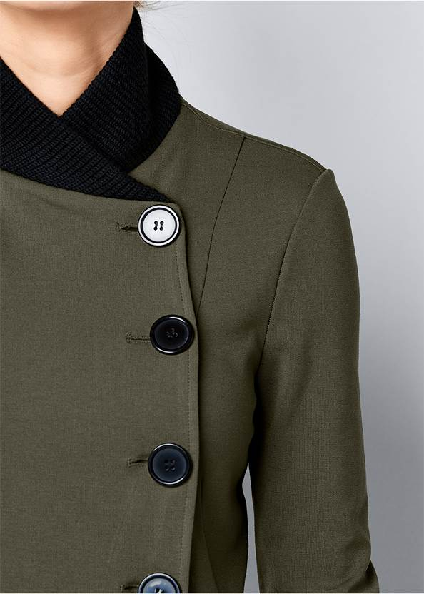 Alternate View Knit Asymmetrical Button Front Jacket