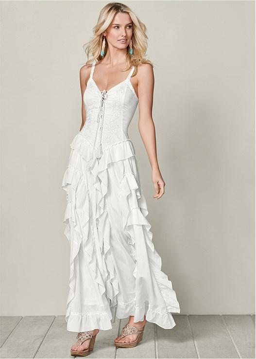 b496a5be93b2 White LACE UP RUFFLE MAXI DRESS from VENUS