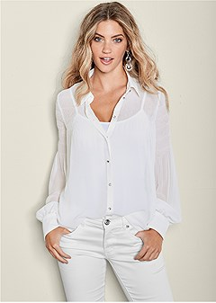 pleated semi-sheer blouse