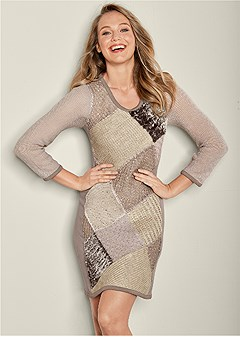 patchwork sweater dress