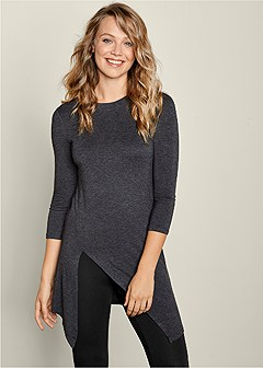 casual slit detail top
