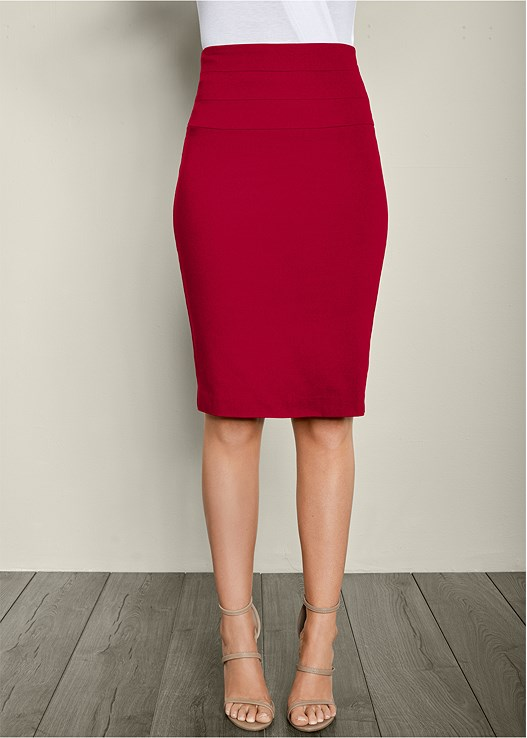 SLIMMING PENCIL MIDI SKIRT,HIGH HEEL STRAPPY SANDAL