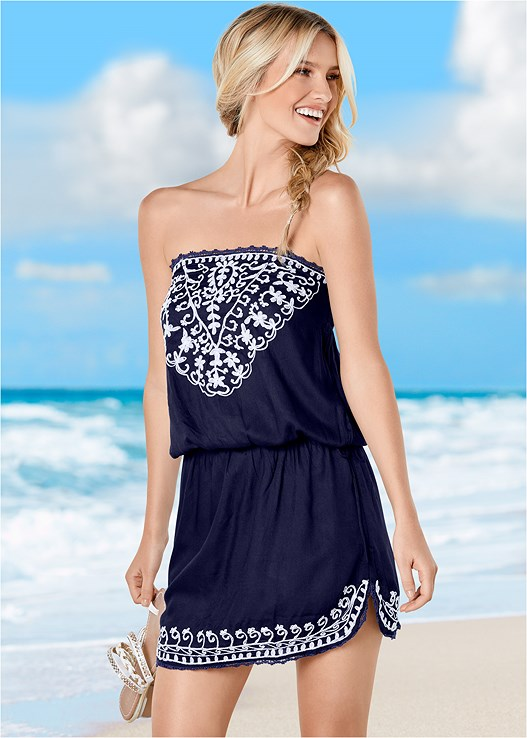EFFORTLESS COVER-UP DRESS,SLENDERIZING ONE-PIECE,PANAMA HAT
