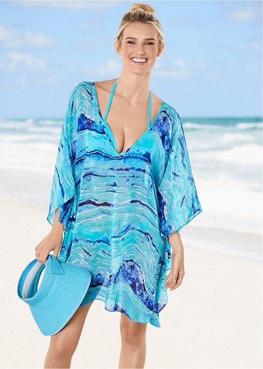 OVERSIZED V-NECK COVER-UP,ENHANCER PUSH UP TRIANGLE,GODDESS MID RISE BOTTOM