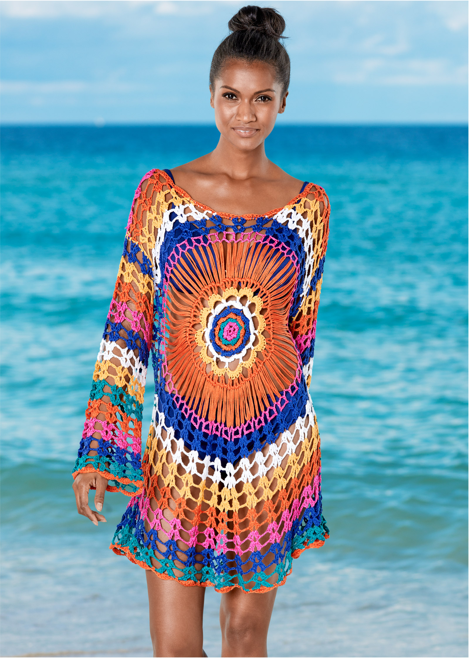 Home Women Summer Long Sleeves Bikini Cover Up Crochet Floral Lace Drawstring High Waist Maxi Cardigan Button Down Beach Dress