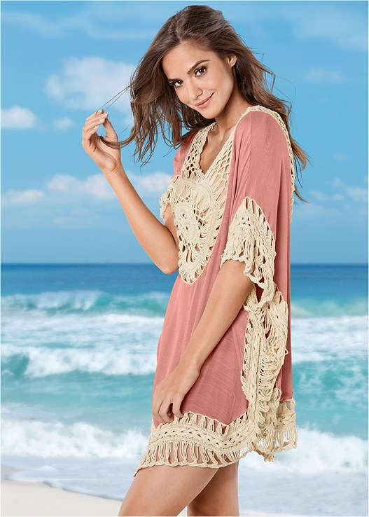 CROCHET DETAIL COVER-UP,CROCHET BANDEAU TANKINI,MIDRISE MESH SIDE BOTTOM