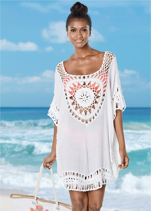 White Crochet Detail Cover Up From Venus
