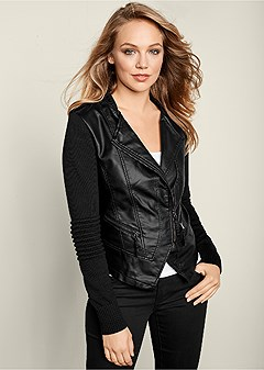 d4b1b116dfd Cole Haan Women s Washed Leather Moto Jacket at Amazon Women s Coats Shop