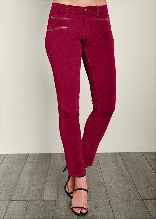 ZIPPER DETAIL CORDUROY,PERFORATED LACE UP HEEL