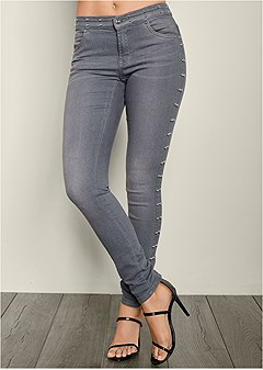 side stud detail jeans