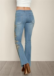 Back view Embroidered Bootcut Jeans